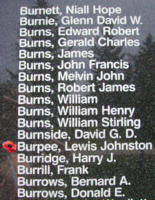 Memorial– Pilot Officer Lewis Johnstone Burpee is also commemorated on the Bomber Command Memorial Wall in Nanton, AB … photo courtesy of Marg Liessens