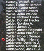 Memorial– Warrant Officer Class II William Henry Calder is also commemorated on the Bomber Command Memorial Wall in Nanton, AB … photo courtesy of Marg Liessens