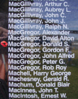 Memorial– Flying Officer Donald Stewart MacGregor is also commemorated on the Bomber Command Memorial Wall in Nanton, AB … photo courtesy of Marg Liessens