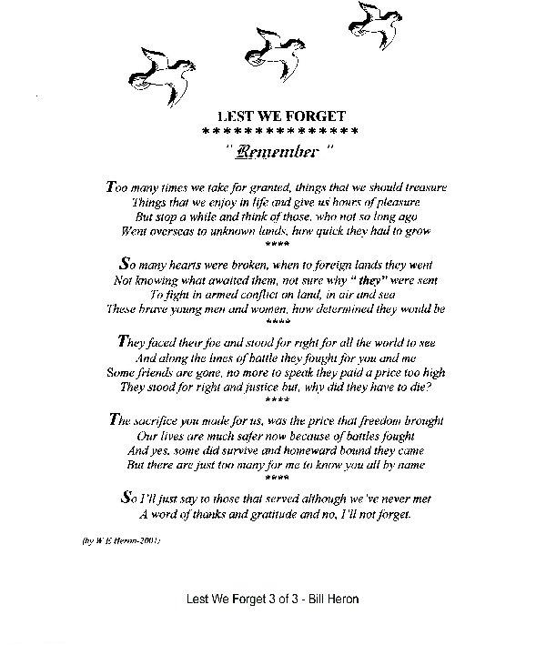 Lest we forget poem