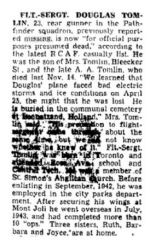 Newspaper clipping– Obituary from The Toronto Star January 19, 1945, page 9
