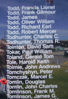 Memorial– Pilot Officer Douglas Tomlin is commemorated on the Bomber Command Memorial Wall in Nanton, AB … photo courtesy of Marg Liessens