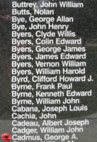 Memorial– Pilot Officer George Austen Cadmus is also commemorated on the Bomber Command Memorial Wall in Nanton, AB … photo courtesy of Marg Liessens