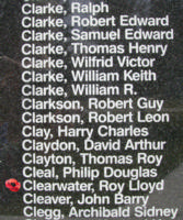 Memorial– Flight Lieutenant Ray Lloyd Clearwater is also commemorated on the Bomber Command Memorial Wall in Nanton, AB … photo courtesy of Marg Liessens