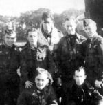 """Group Photo– F/S J C Cooke and crew. Left to right. Front row - Melvin Orr, Roy Hill. Back row - Edward """" Paddy """" McGrath, Alfred """" Eddy """" Mann, James Goff, Jackson Cooke, and John McCoubrey"""