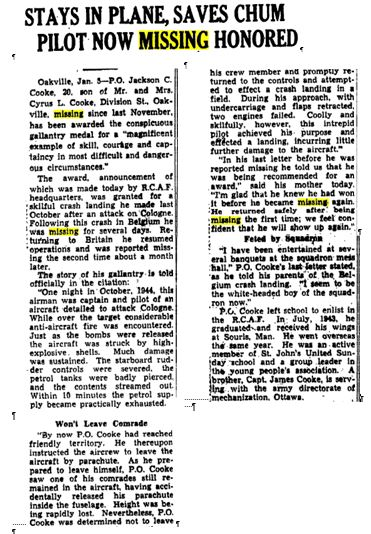 Newspaper Clipping– Toronto Star 5 Jan. 1945