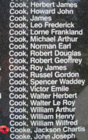 Memorial– Flight Sergeant Jackson Chartis Cooke is also commemorated on the Bomber Command Memorial Wall in Nanton, AB … photo courtesy of Marg Liessens