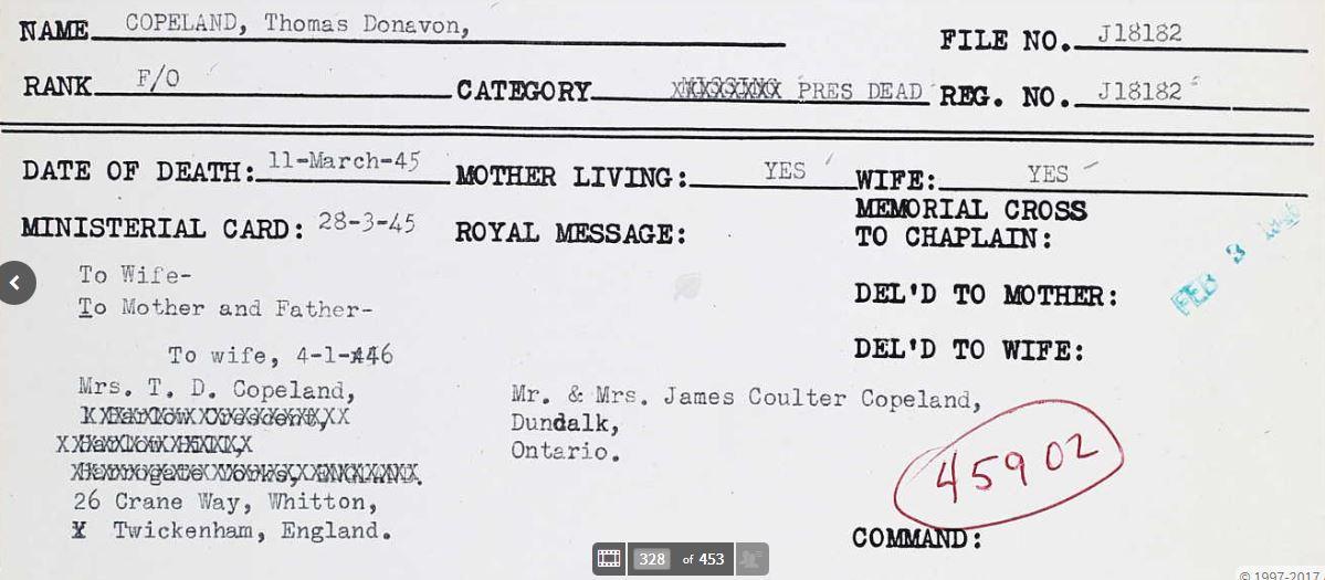 Record of Service– Thomas Donavon Copeland record
