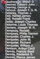 Memorial– Sergeant Walter David Deatherage is also commemorated on the Bomber Command Memorial Wall in Nanton, AB … photo courtesy of Marg Liessens
