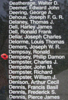 Memorial– Flight Sergeant Philip Damon Dempsey is also commemorated on the Bomber Command Memorial Wall in Nanton, AB … photo courtesy of Marg Liessens