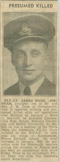 Press Clipping– Flight Lieutenant James Basil Doak obit Montreal Gazette Jan 8 1945 courtesy McGill University archives.