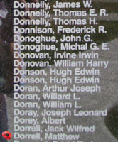 Memorial– Pilot Officer Matthew Dorrell is also commemorated on the Bomber Command Memorial Wall in Nanton, AB … photo courtesy of Marg Liessens