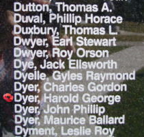 Memorial– Flight Sergeant Harold George Dyer is also commemorated on the Bomber Command Memorial Wall in Nanton, AB … photo courtesy of Marg Liessens