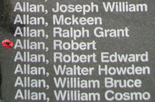 Memorial– Pilot Officer Robert Allan is also commemorated on the Bomber Command Memorial Wall in Nanton, AB … photo courtesy of Marg Liessens