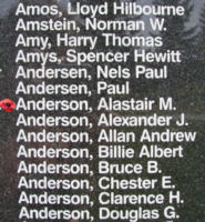 Memorial– Sergeant Alastair MacDonald Anderson is also commemorated on the Bomber Command Memorial Wall in Nanton, AB … photo courtesy of Marg Liessens