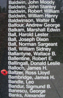 Memorial– Pilot Officer Ross Lloyd Baltzer is also commemorated on the Bomber Command Memorial Wall in Nanton, AB … photo courtesy of Marg Liessens