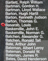 Memorial– Pilot Officer Louis Basarab is also commemorated on the Bomber Command Memorial Wall in Nanton, AB … photo courtesy of Marg Liessens