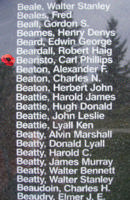 Memorial– Warrant Officer Class II Carl Phillips Beairsto is also commemorated on the Bomber Command Memorial Wall in Nanton, AB … photo courtesy of Marg Liessens