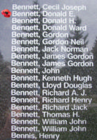 Memorial– Flying Officer Donald Edward Bennett is also commemorated on the Bomber Command Memorial Wall in Nanton, AB … photo courtesy of Marg Liessens