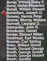Memorial– Pilot Officer Joseph Oscar Rosario Bonenfant is also commemorated on the Bomber Command Memorial Wall in Nanton, AB … photo courtesy of Marg Liessens