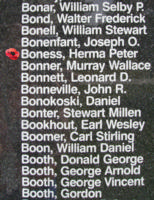 Memorial– Pilot Officer Herman Peter Boness is also commemorated on the Bomber Command Memorial Wall in Nanton, AB … photo courtesy of Marg Liessens