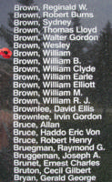 Memorial– Flight Sergeant William Brown is also commemorated on the Bomber Command Memorial Wall in Nanton, AB … photo courtesy of Marg Liessens