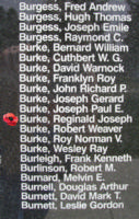 Memorial– Flying Officer Reginald Joseph Burke is also commemorated on the Bomber Command Memorial Wall in Nanton, AB … photo courtesy of Marg Liessens