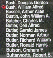 Memorial– Sergeant William Alfred Bush is also commemorated on the Bomber Command Memorial Wall in Nanton, AB … photo courtesy of Marg Liessens