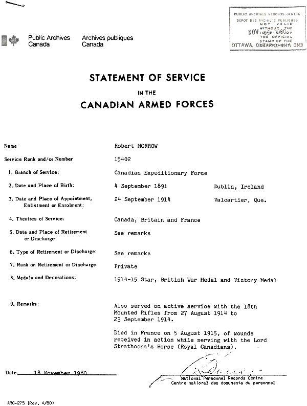 Statement of Service