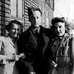 "Group Photo– Terence with his girlfriend Jean ""Bunty"" Watt and her mother."