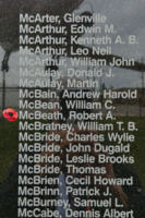 Memorial– Flight Sergeant Robert Alexander McBeath is also commemorated on the Bomber Command Memorial Wall in Nanton, AB … photo courtesy of Marg Liessens