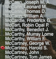 Memorial– Sergeant Harold Samuel McCartney is also commemorated on the Bomber Command Memorial Wall in Nanton, AB … photo courtesy of Marg Liessens