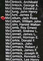 Memorial– Flying Officer Jack Ross McCollum is also commemorated on the Bomber Command Memorial Wall in Nanton, AB … photo courtesy of Marg Liessens