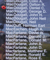 Memorial– Pilot Officer Daniel Craig MacDougall is also commemorated on the Bomber Command Memorial Wall in Nanton, AB … photo courtesy of Marg Liessens