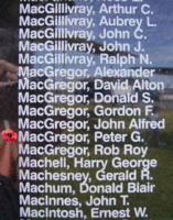Memorial– Flying Officer Peter George Harvey MacGregor is also commemorated on the Bomber Command Memorial Wall in Nanton, AB … photo courtesy of Marg Liessens