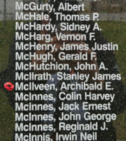 Memorial– Flight Sergeant Archibald Edwin McIlveen is also commemorated on the Bomber Command Memorial Wall in Nanton, AB … photo courtesy of Marg Liessens
