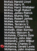 Memorial– Warrant Officer Class II Gerald Lewis McKenna is also commemorated on the Bomber Command Memorial Wall in Nanton, AB … photo courtesy of Marg Liessens