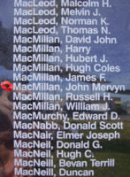 Memorial– Flying Officer John Mervyn MacMillan is also commemorated on the Bomber Command Memorial Wall in Nanton, AB … photo courtesy of Marg Liessens