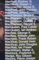 Memorial– Flying Officer John Goodwill Macphee is also commemorated on the Bomber Command Memorial Wall in Nanton, AB … photo courtesy of Marg Liessens