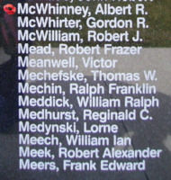 Memorial– Sergeant Albert Richard McWhinney is also commemorated on the Bomber Command Memorial Wall in Nanton, AB … photo courtesy of Marg Liessens