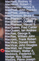 Memorial– Pilot Officer Walter Alexander MacWilliam is also commemorated on the Bomber Command Memorial Wall in Nanton, AB … photo courtesy of Marg Liessens
