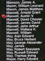 Memorial– Flying Officer Austin Vaughan Maxwell is also commemorated on the Bomber Command Memorial Wall in Nanton, AB … photo courtesy of Marg Liessens