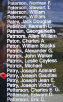 Memorial– Pilot Officer Joseph Gaudias Albert Patry is commemorated on the Bomber Command Memorial Wall in Nanton, AB … photo courtesy of Marg Liessens