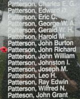 Memorial– Pilot Officer John Richard Patterson is also commemorated on the Bomber Command Memorial Wall in Nanton, AB … photo courtesy of Marg Liessens
