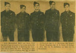 Newspaper Clipping– Photo courtesy of Keith Perry, Seeley's Bay, brother of Nelson. Photo from Kingston Whig Standard which shows local men who graduated from AG school (names were reversed).  They are from Left to Right: Sgt. G. T. McMaster; Sgt. Nelson Perry KIA; Sgt. C. C. Merriman KIA;  Sgt. M. Blad; Sgt. Jack Scott, PoW.