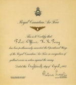 Certificate– P/O Nelson's Operational Wings certificate. Courtesy of bother Keith Perry.