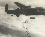 Lancaster Bomber– A rare photo of 101 Sqdn. Lancaster showing the two aerials for the radio jamming equipment.