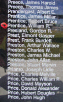 Memorial– Flight Sergeant William Ronald Prentice is also commemorated on the Bomber Command Memorial Wall in Nanton, AB … photo courtesy of Marg Liessens