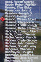 Memorial– Pilot Officer Wilson Albert Reason is commemorated on the Bomber Command Memorial Wall in Nanton, AB … photo courtesy of Marg Liessens