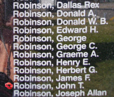 Memorial– Flying Officer John Thomas Robinson is also commemorated on the Bomber Command Memorial Wall in Nanton, AB … photo courtesy of Marg Liessens